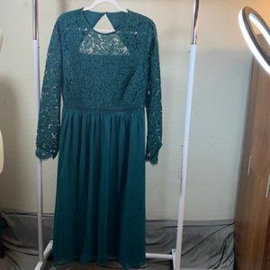Truth & Fable Green Long Sleeve Lacy Dress 3XL NWT